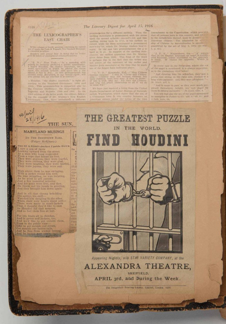 Houdini, Harry. Massive Scrapbook Compiled by Houdini