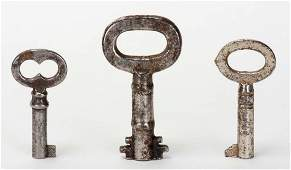 Three Short Barrel-Type Keys Owned by Harry Houdini.