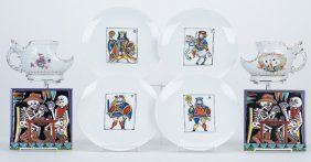 Eight Pieces Of Porcelain With Playing Card Depictions.
