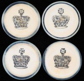 Four Crown Inside Blue Rim Ivory Poker Chips. English