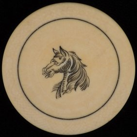 Horse Head Ivory Poker Chip. American, Ca. 1890. Finely