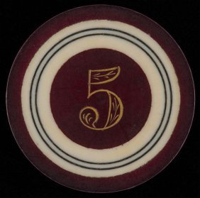 Five Dollar Ivory Poker Chip. American, Ca. 1890. Five