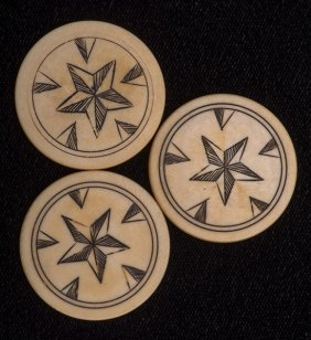 Three Star Design Ivory Poker Chips. American, Ca.