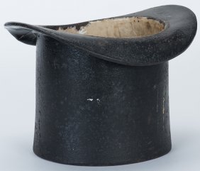 Cast Iron Top Hat Spittoon. American, Ca. 1890. Early