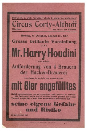 Houdini, Harry (ehrich Weisz). Circus Corty-althoff.