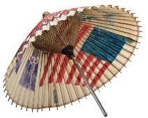 Circus Parade Folk Art Bamboo Parasol. American, early
