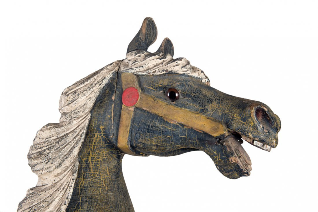 C.W. Parker Track Carousel Jumper Horse. Attributed to