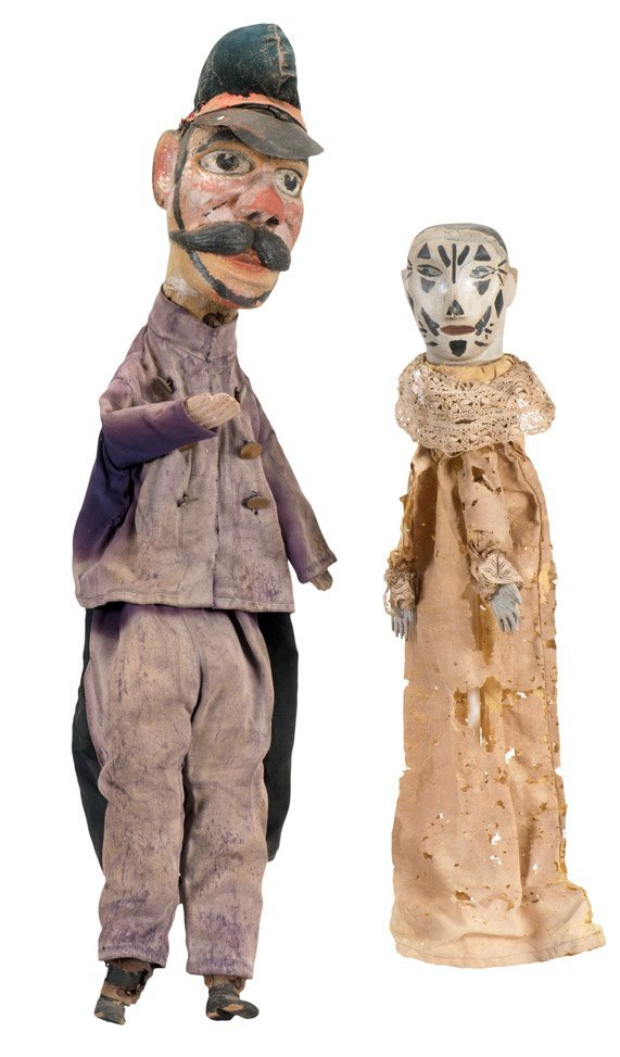 Group of Carved Wooden Punch and Judy Hand Puppets. - 2