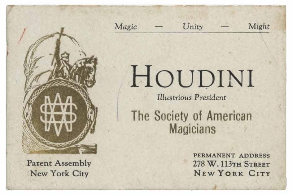 Harry houdini business card new york 1920s houdini business card new york 1920s magicingreecefo Gallery