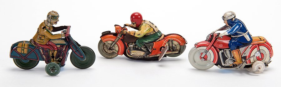 Group of Three Vintage Wind-Up Motorcycles. Various