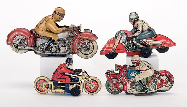 Group of Four Vintage Red Motorcycles. Various makers