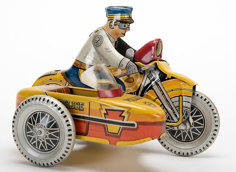 Police Motorcycle with Sidecar. New York: Marx Toys,