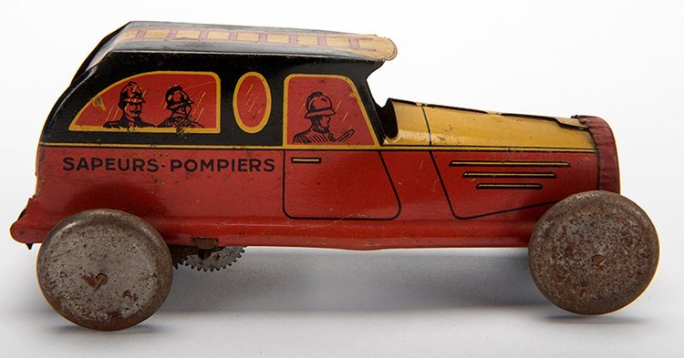 Sapeurs-Pompiers Car. France, ca. 1946. Wind-up tin