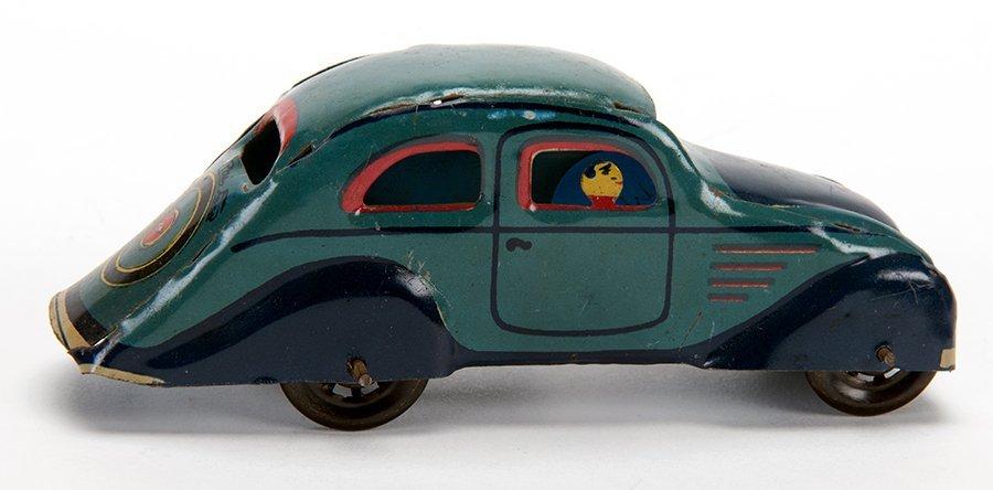 Spanish Teal Car. Spain, early twentieth century. Tin