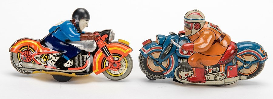 Two Vintage Motorcycle Toys. Germany and Japan: