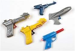 Group of Five Vintage Plastic Space Guns. Various dates