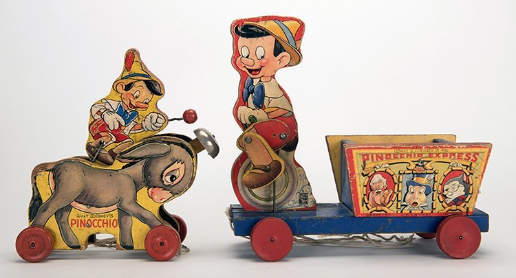 Pinocchio Pull Toys. New York: Fisher Price, 1939. Two