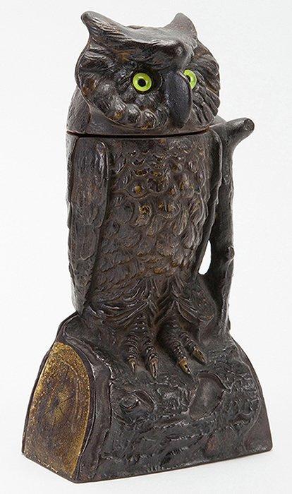 Owl Toy Bank. Connecticut: J. & E. Stevens Co., ca.