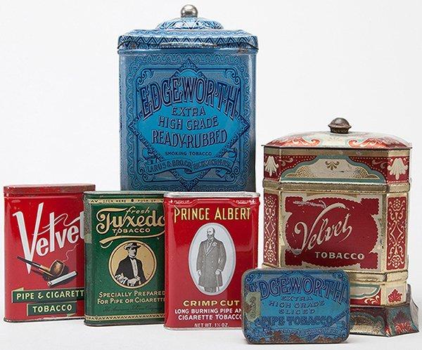 Six Tobacco Tins. Including Velvet canister, Spaulding