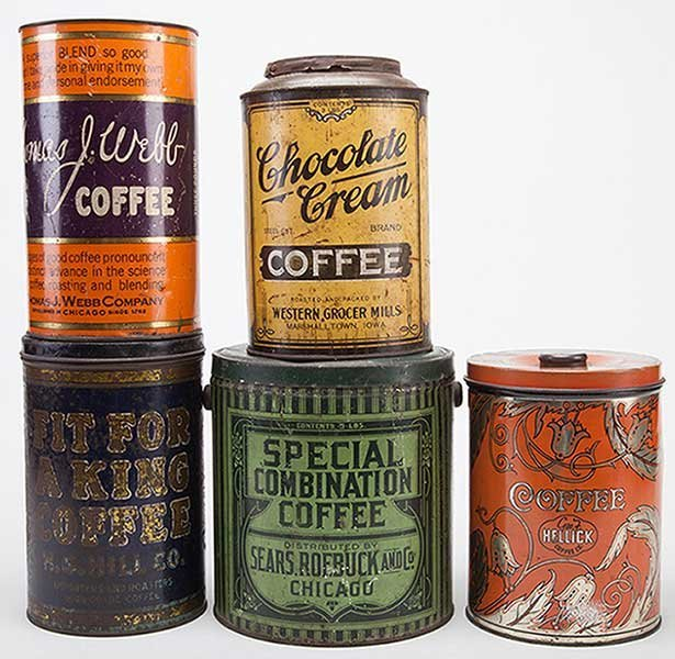 Five Coffee Tins. Including five pound Special