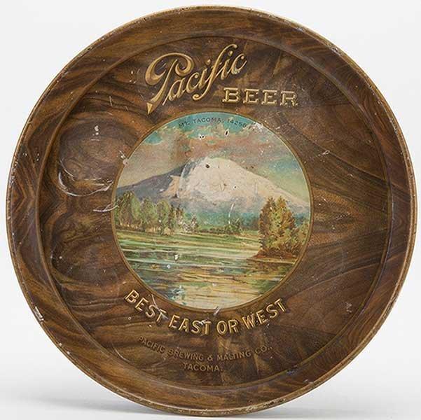 Pacific Beer Tray. Best East or West. Vintage pictorial