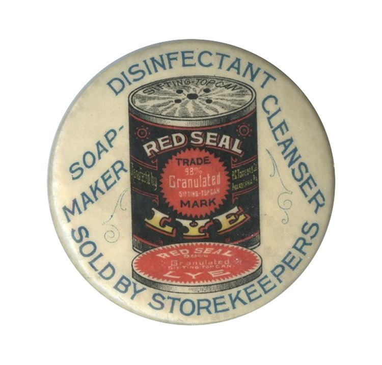 Red Seal Lye Round Celluloid Pocket Mirror. Circa 1925.