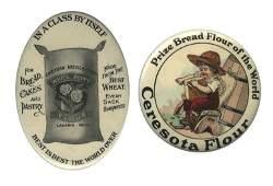 Two Celluloid Flour Pocket Mirrors. Circa 1930.