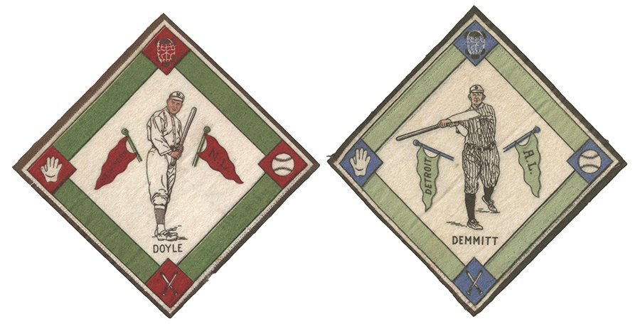 Seven B-18 1914 Baseball Tobacco Felts. Including