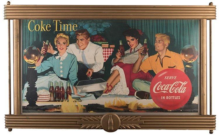 Large Coca-Cola Coke Tme Cardboard Advertising Sign