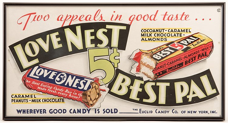 Two Love Nest Five Cent Candy Bar Signs. New York: The