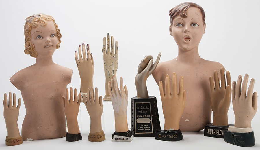 Ten Display Advertising Hands and Man and Woman Hanging