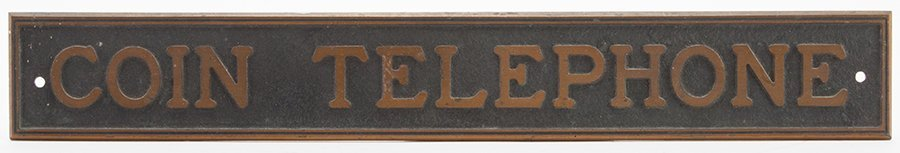 Coin Telephone Vintage Brass Sign. Maker unknown,