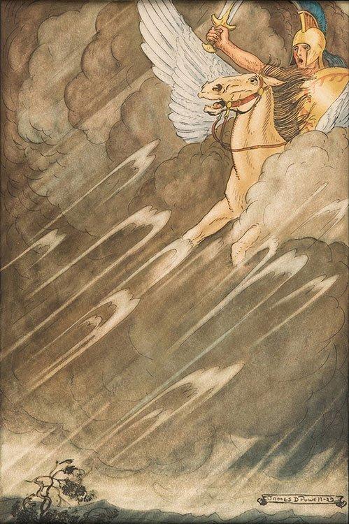 Powell, James D. Bellerophon on Pegasus in a