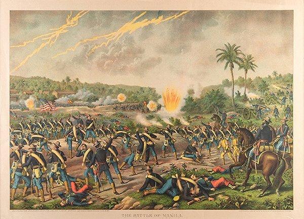 Kurz & Allison. Battle of Manila. Chicago, 1899. Color