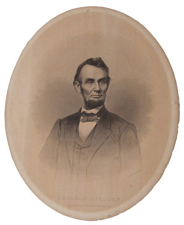 (Lincoln, Abraham) Antique Engraved Portrait of