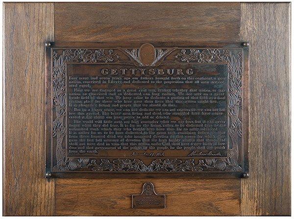 Gettysburg Address Bronze Plaque. Mid-twentieth