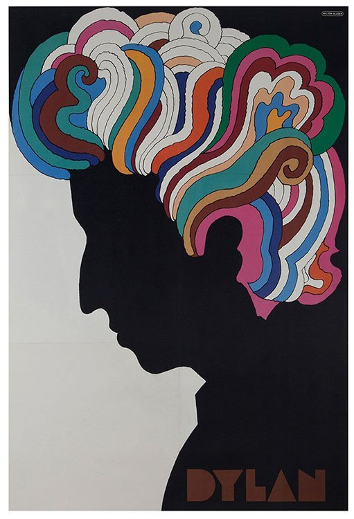Glaser, Milton. Bob Dylan. 1966. Iconic bust portrait