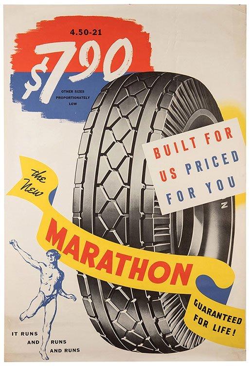 Marathon Tires. Circa 1940. Built for us, Priced for