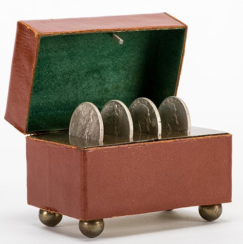 Coin Vanishing Casket. Circa 1900. Four coins vanish