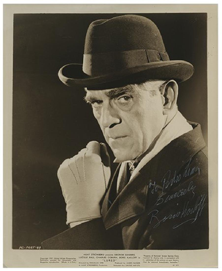 "Boris Karloff Inscribed and Signed ""Lured"" Publicity"