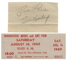 Jimi Hendrix Autograph Cut, Woodstock Ticket and