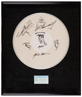 Smash Mouth Autographed Drum-Head Display.