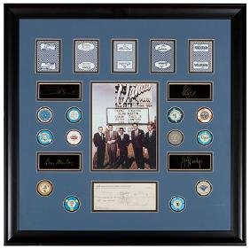 Rat Pack Matted Display Memorabilia Including A Check