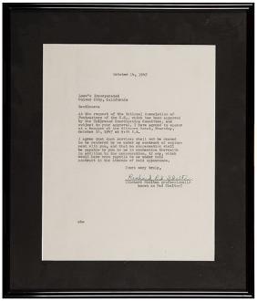 Red Skelton Signed Letter of Agreement.