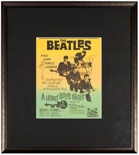 The Beatles A Hard Day's Night Window Card.