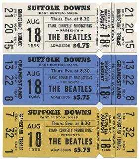 Group of Three Beatles Suffolk Downs Unused Concert