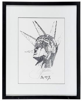 Kiss Gene Simmons Statue of Liberty Signed Lithograph.