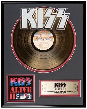 """Kiss """"Alive II"""" 24kt Gold-Plated 33rpm Record."""