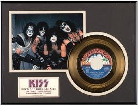"""Kiss """"Rock and Roll All Nite"""" 24kt Gold-Plated 45rpm"""