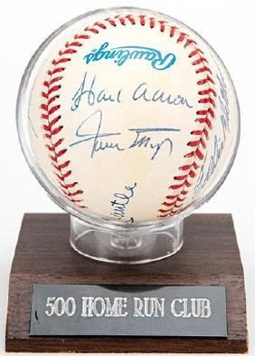 500 Home Run Club Baseball Signed by Eleven Players.
